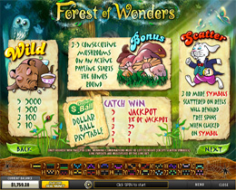 Forest of Wonders Paytable