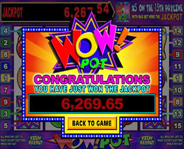 Jackpot Win Screenshot of Wow Pot 5 Reel Microgaming Slot